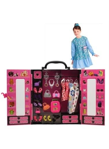 Kayyum Oyuncak Beauty Fashion Star Barbie 30 Parça Evcilik Oyuncak Gardrop Pembe